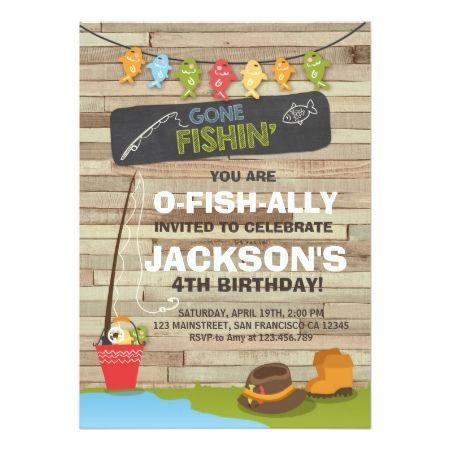Fishing Birthday Invitation Wood Fishing party – Buy Birthday Invitations