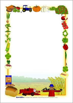 Harvest-themed A4 page borders (SB2855) - SparkleBox ...