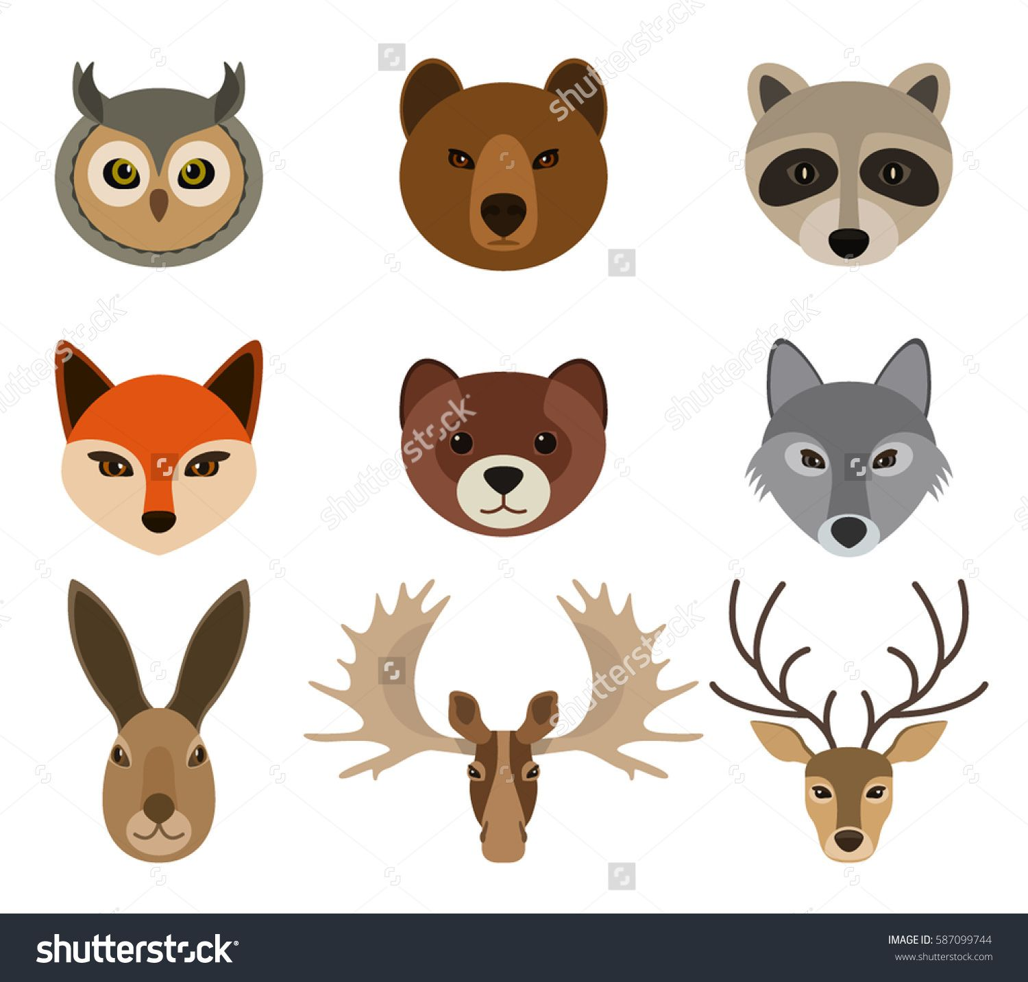set forest animals snouts in cartoon style isolation on a