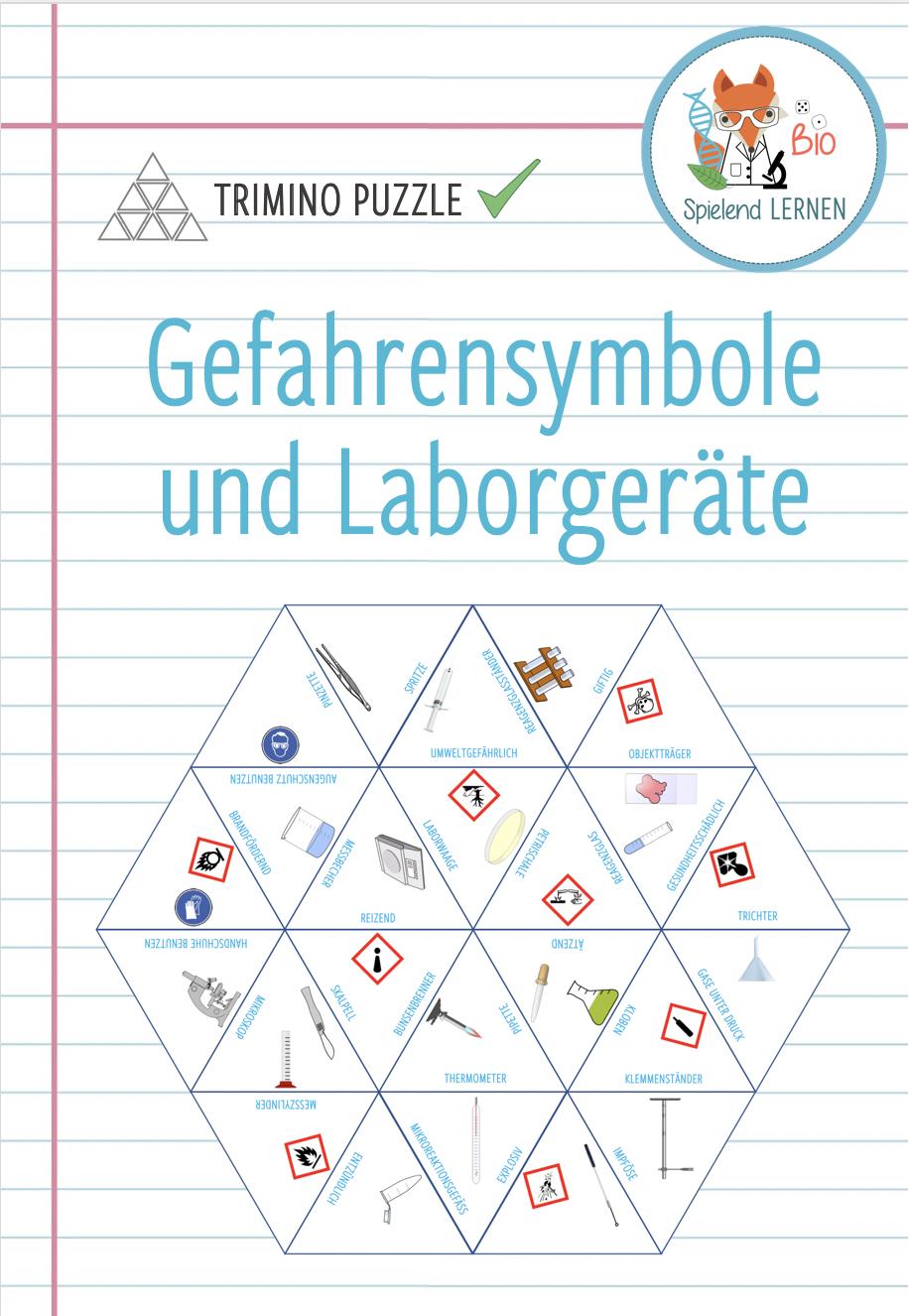 Gefahrensymbole und Laborgeräte – Trimino – Unterrichtsmaterial in ...