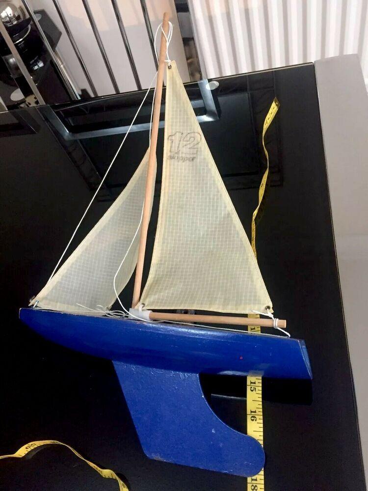 Skipper Vintage 12 Wooden Pond Sailing Yacht Blue Hull Toy