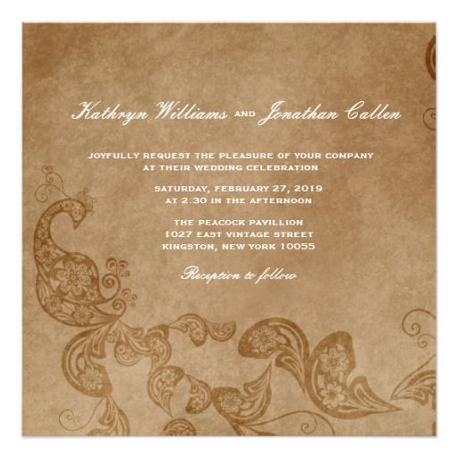 Vintage Chic Floral White Peacock Wedding Invite Personalized Invitation