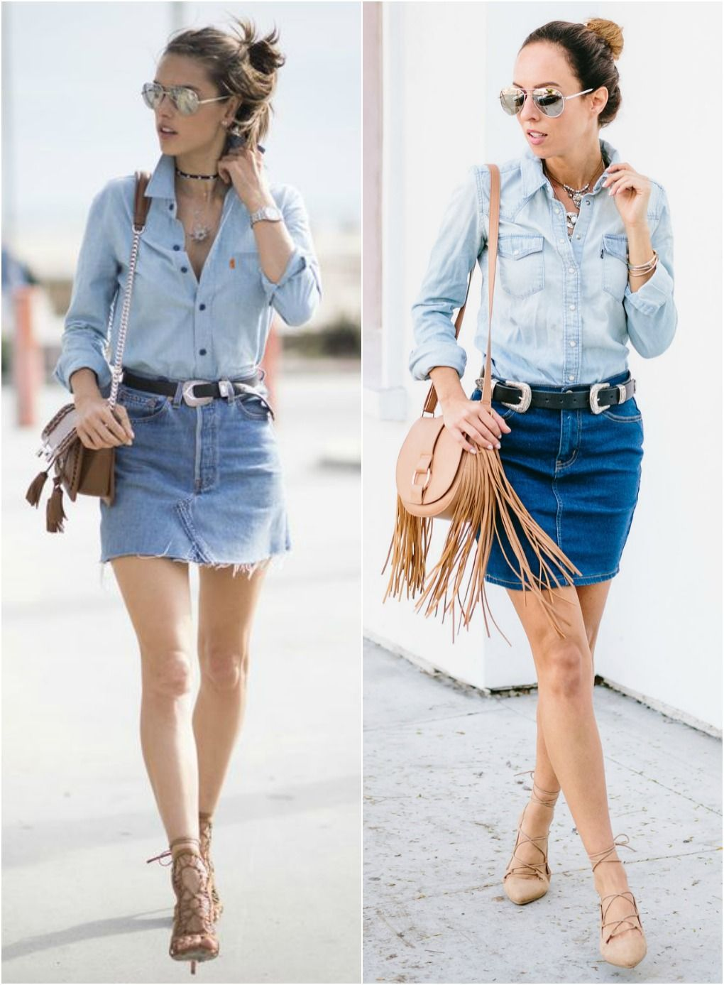 2ee9c99d932 Los Angeles fashion blogger Sydne Summer styles Alessandra Ambrosio s Denim  on Denim Skirt in celebrity fashion. Shop the look online!