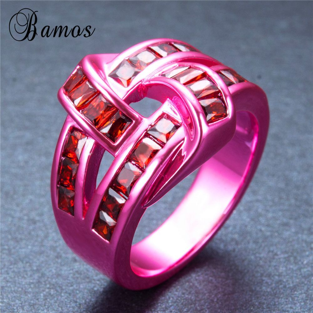 Red Geometric Pink Gold Filled Ring | Products | Pinterest | Products