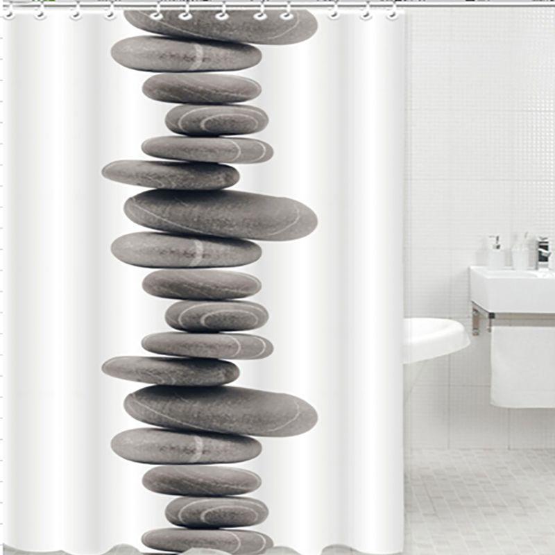 Douchegordijn waterdicht badkamer bad zen stenen kiezels for Badkamer zen