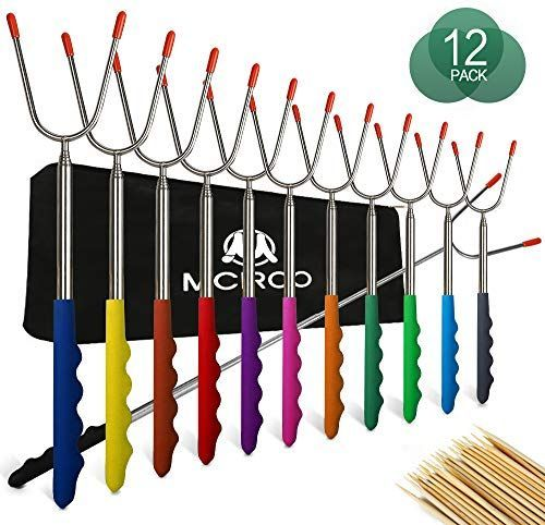 M MCIRCO Marshmallow Roasting Sticks,Set of 12 Pack 45¡° Telescoping Smores Skewers Hot Dog Extending Stainless Steel Forks for Camping, Campfire, Bonfire Kids, Multicolor,Include 20 Bamboo Skewers #marshmallowsticks SET OF 12 PCS PREMIUM QUALITY MARSHMALLOW STICKS MCIRCO Marshmallow Roasting Sticks are made from FDA APPROVED Non-Toxic STAINLESS STEEL to ensure safe roasting. The comfortable rubber handle with finger indents gives you a firm, steady grip. Product Features SET OF 12 PCS PREMIUM #marshmallowsticks