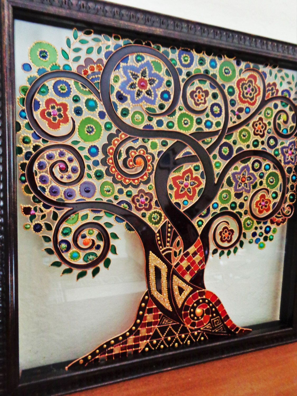 Tree of life art glass painting painted glass tree of life for Mural glass painting
