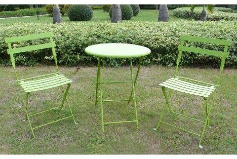 Shin Crest 3-Piece Folding Metal Patio Bistro Furniture Set - Green ...