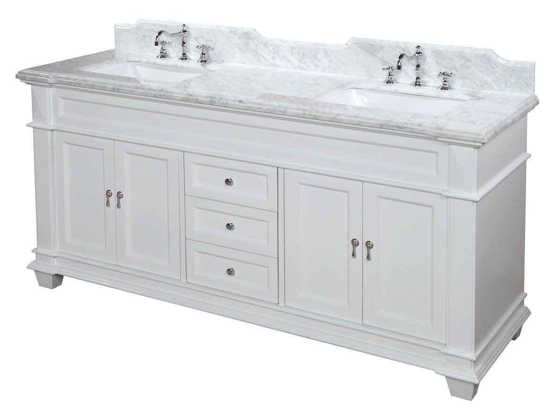 Elizabeth 72 Inch Bathroom Vanity Carrara White Includes Cabinet With