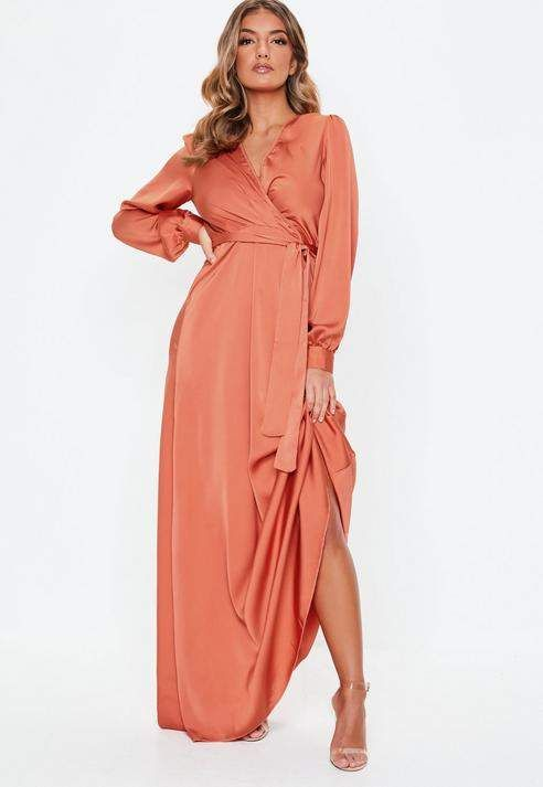 d8969ba366ab Missguided Coral Satin Wrap Over Maxi Dress | Products in 2019 ...