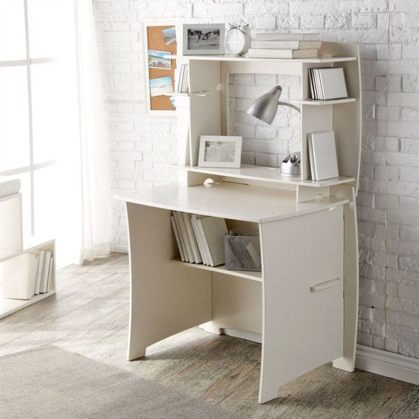 Hearts Attic White Home Office Computer / Writing Desk (2 980 ZAR) ❤ liked on Polyvore featuring home, furniture, desks, white desk, computer shelves, computer desk, white writing desk and storage shelves