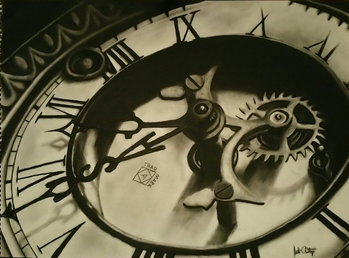 Charcoal Drawing Old Clock By Jsteng Clock Drawings Old Clock Tattoo Clock Tattoo