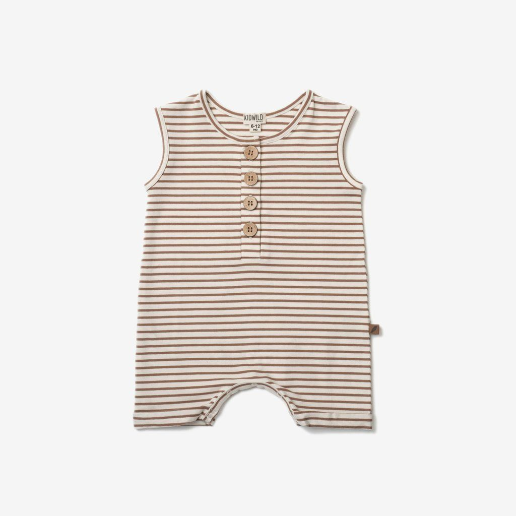 c51b17d90 Organic Sleeveless Romper - Caramel Stripe | For the wee ones ...