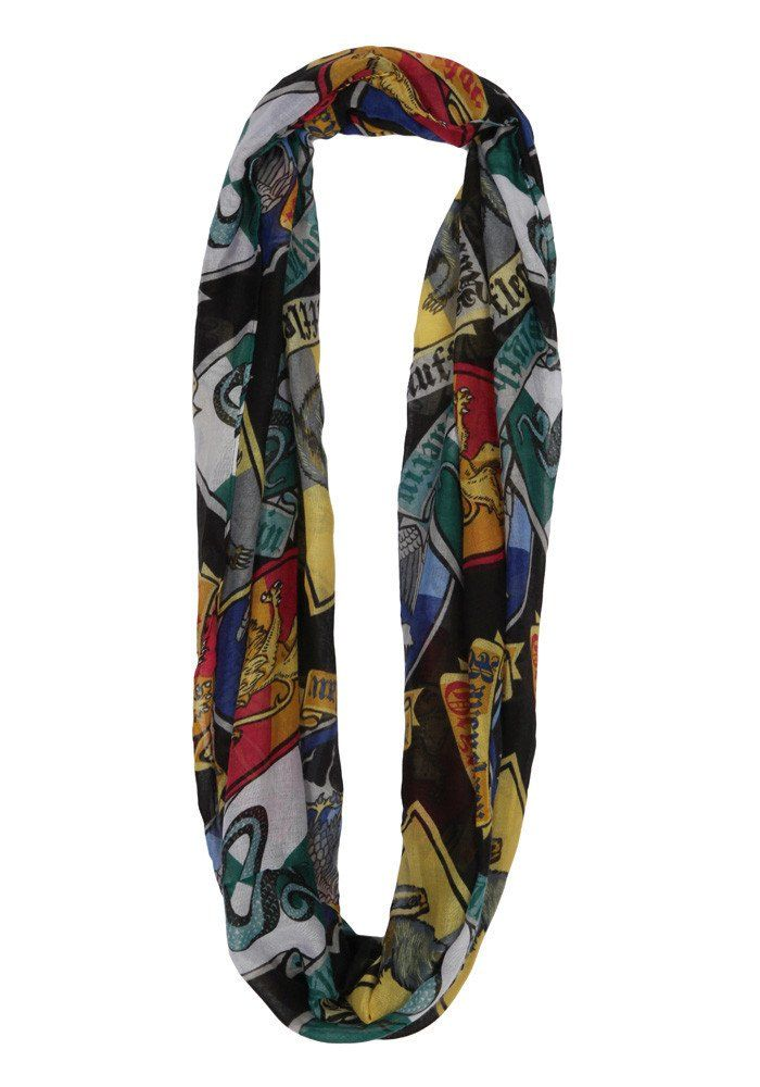 e3828a62385b2 HARRY POTTER Hogwarts House Crests Infinity Print Viscose Scarf ...
