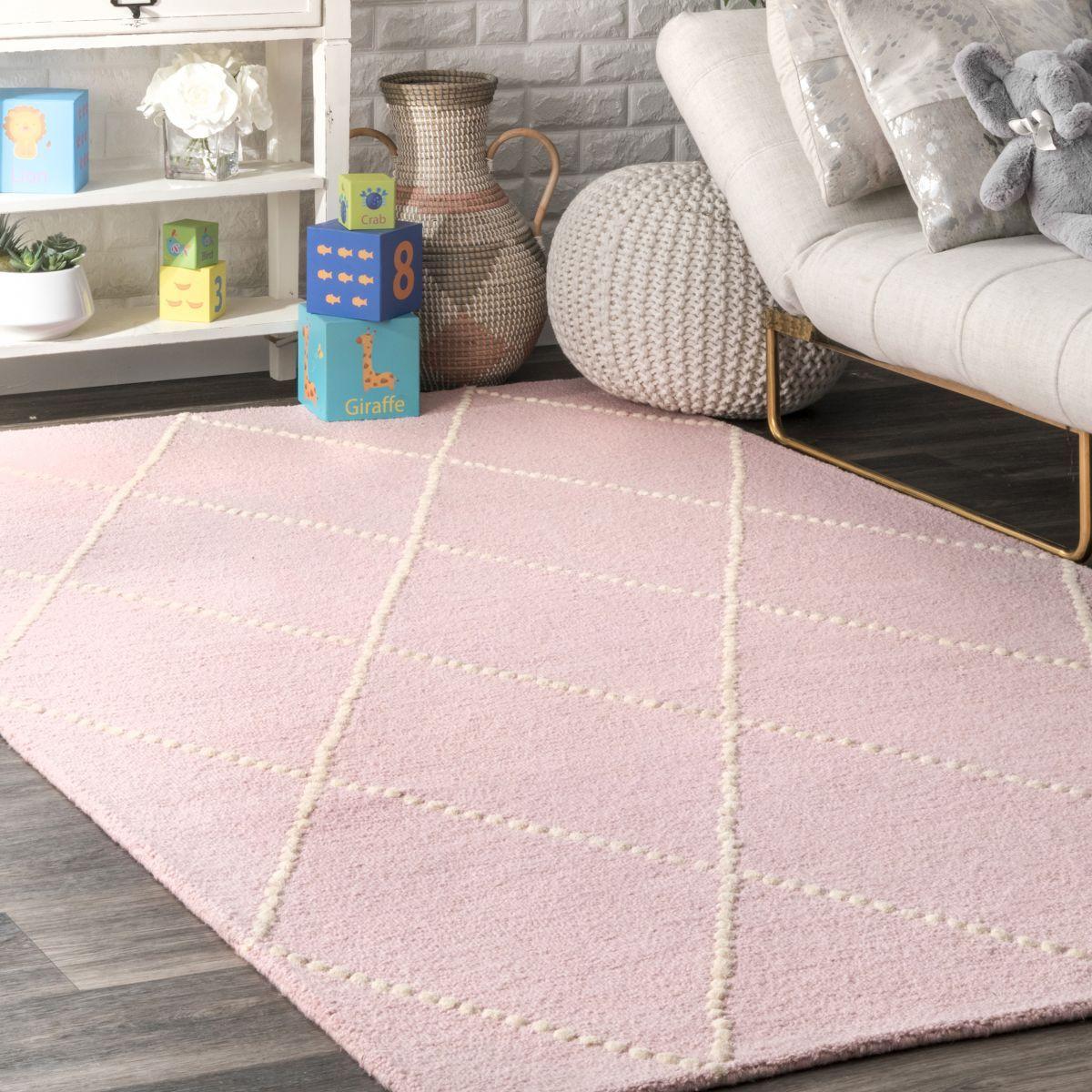 Tuscan Dotted Diamond Trellis Nursery Baby Pink Rug in