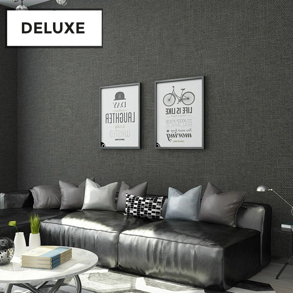 Modern Black Metallic Textured Woven Effect Modern Dark Grey Wallpaper Grey Wallpaper Living Room Wallpaper Living Room Dark Grey Wallpaper