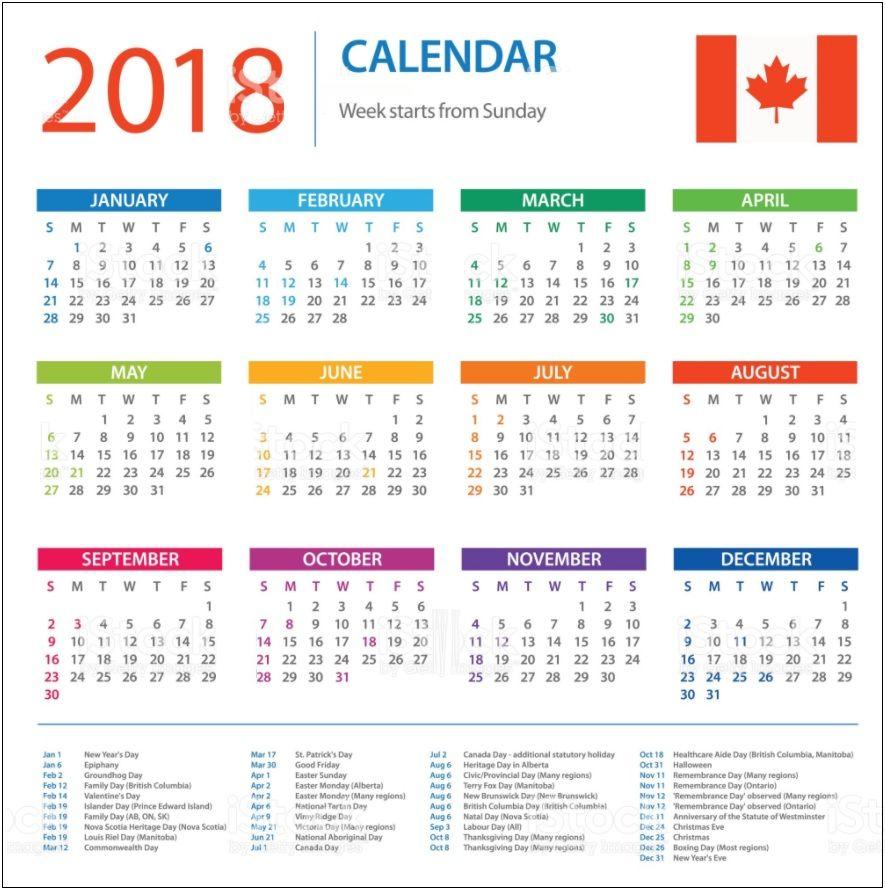 Canada Calendar 2018 Holidays Pensamentos frases