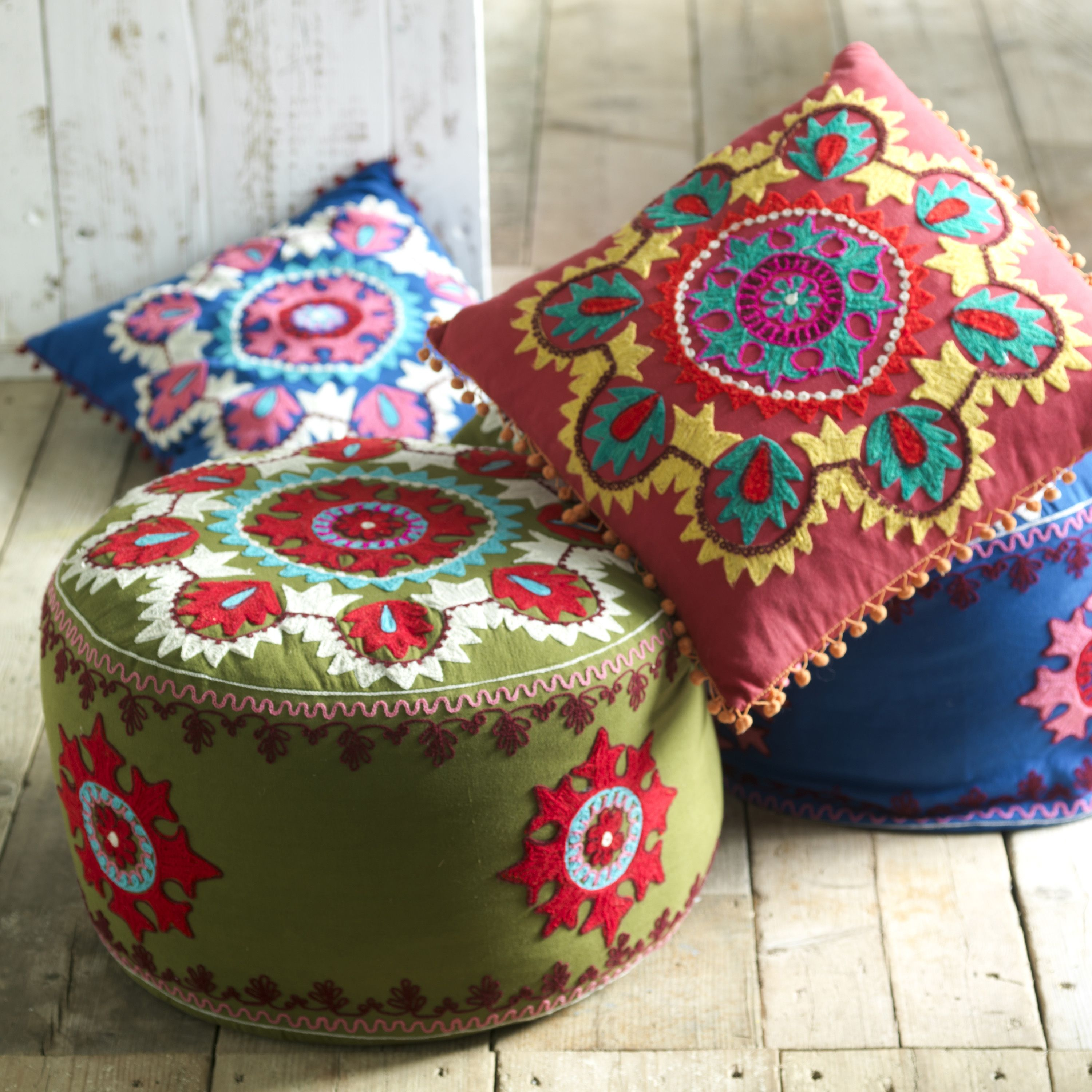 kashmiri embroidered pouf these exquisitely beautiful poufs and  - kashmiri embroidered pouf these exquisitely beautiful poufs and cushionsare hand embroidered in kashmir the