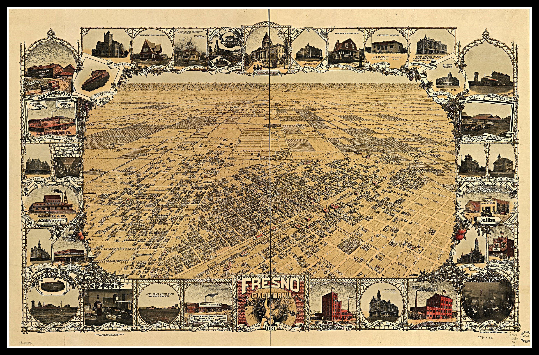 16x24 Santa Barbara California 1898 Historic Panoramic Town Map