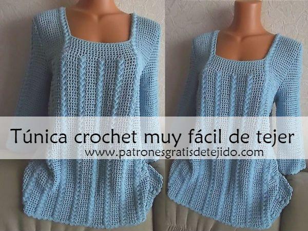 Guía para tejer una túnica crochet muy fácil / Paso a paso | Crochet ...