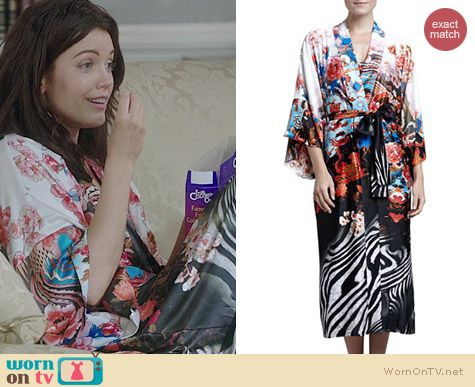 a202006be9 Mellie s floral and zebra stripe robe on Scandal. Outfit Details  http