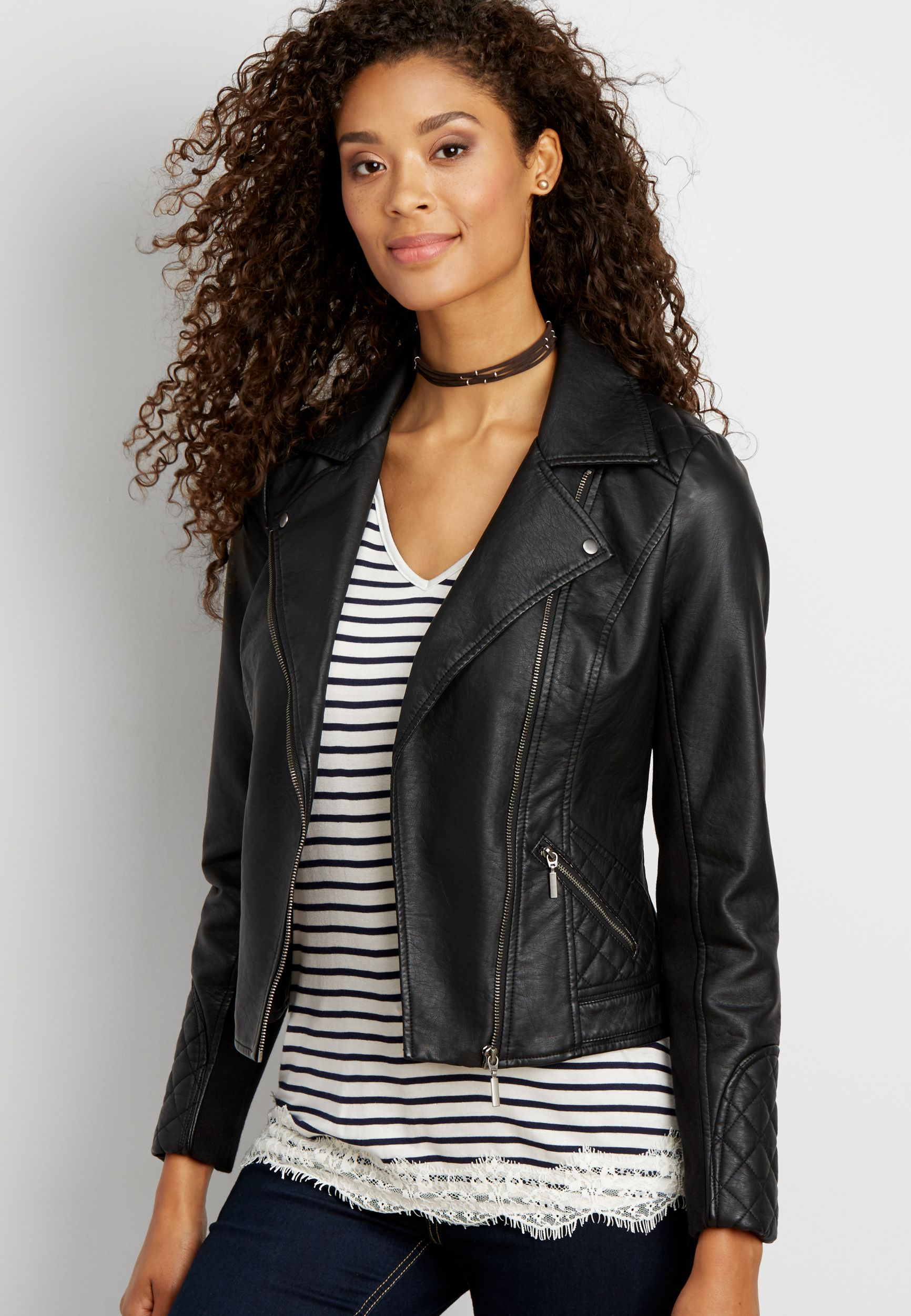 moto jacket with quilted stitching (original price, 59.99