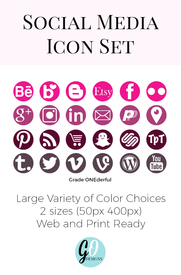 Round Social Media Vector Icons Print and Web ready for