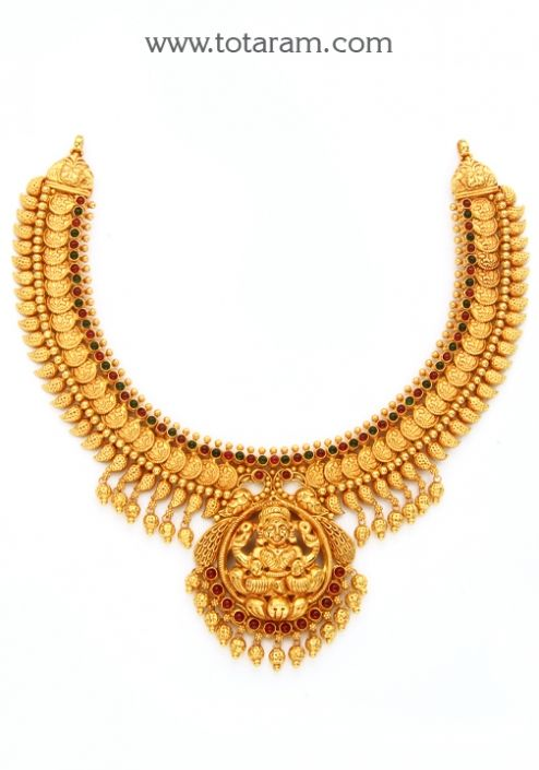 22K Gold 'Lakshmi' Necklace (Temple Jewellery): Totaram
