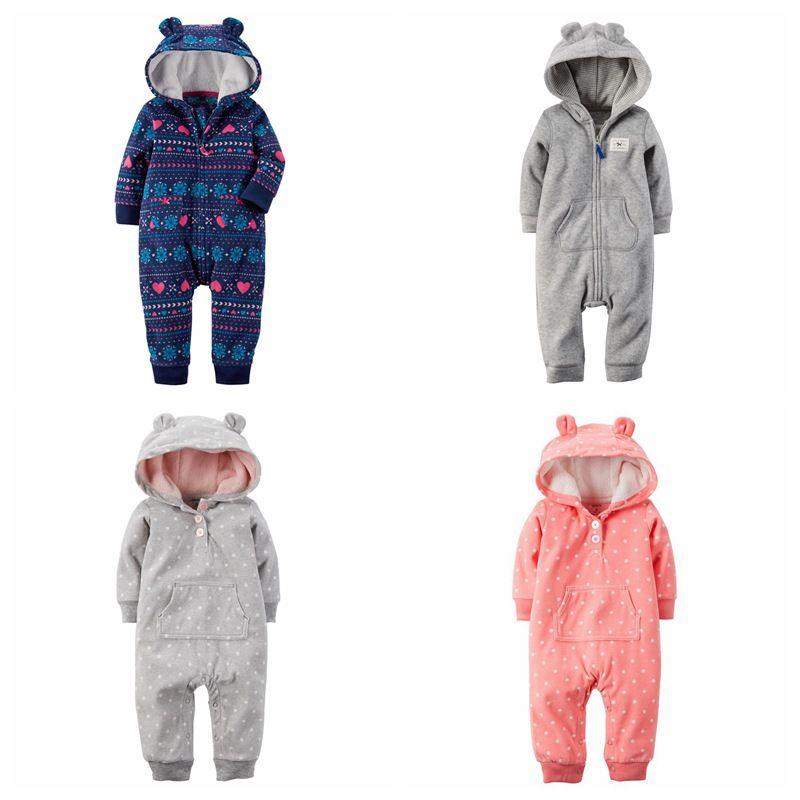 2017 winter bebes kleidung fleece baby overall mit kapuze baby ...