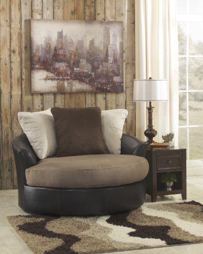 Masoli-Mocha Contemporary Oversized Swivel Accent Chair