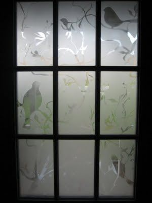 Stenciled frost spray painted front door window i love for How to spray paint doors