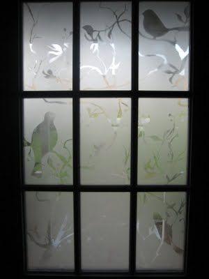 Stencilled Frost Spray Painted Front Door Window Kathryn Beaumont Front Doors With Windows Painted Front Doors Windows