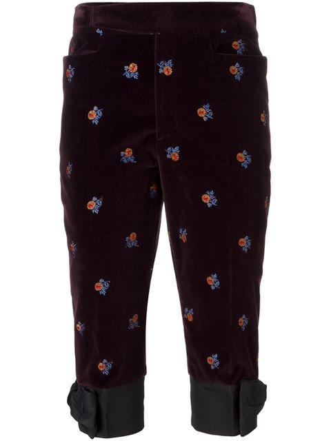 MAISON MARGIELA Velvet Embroidered Trousers. #maisonmargiela #cloth #trousers