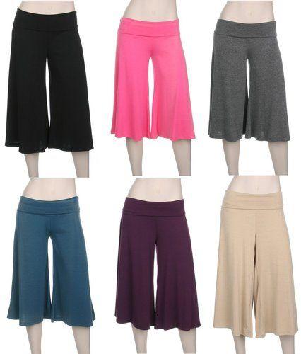 1e99a553e9e True Plus Size Rollover Wide Leg Crop Capri Palazzo Gaucho Pants 1x 2X 3X  Yoga