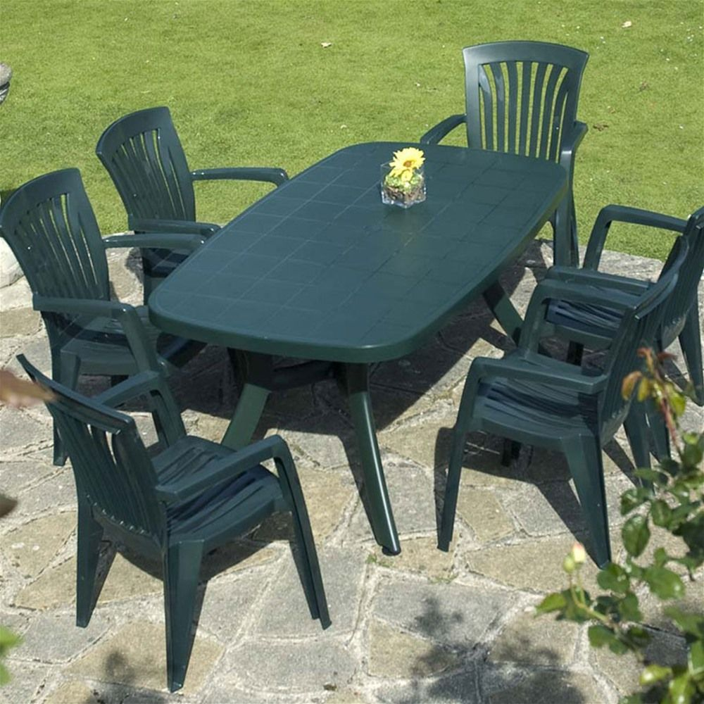 plastic patio furniture Green Plastic Resin Patio Furniture Set with 6 Chairs