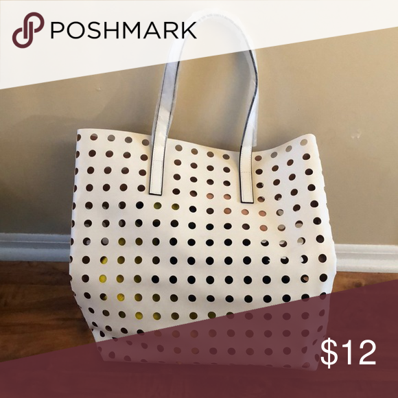 Large White Tote Bag With Holes Cute Spring Summer