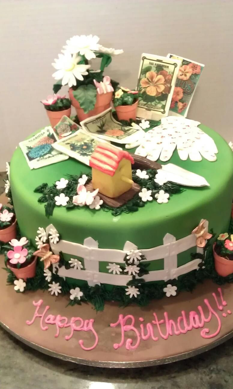 Garden Cake with gloves, seed packets, bird house, and ...
