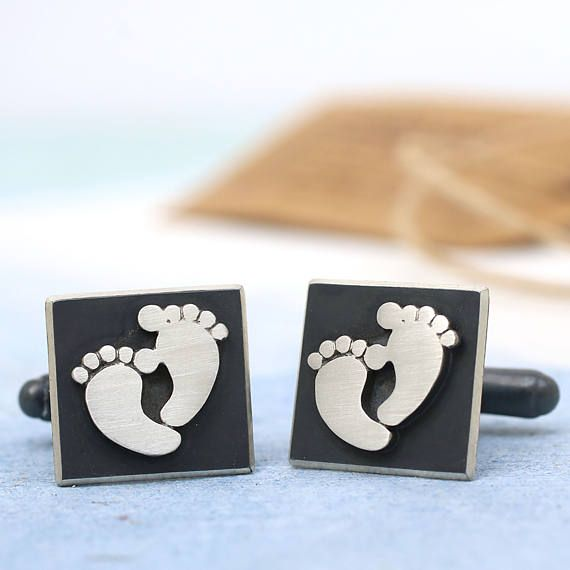 New Dad Cufflinks Foot Print Father Gift Personalised Baby Personalisd Footprint