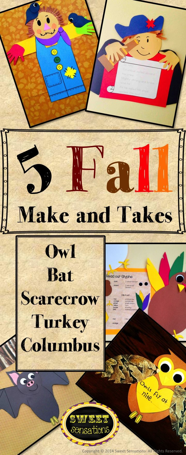 Fall Crafts (owl, bat, scarecrow, turkey glyph, Christopher Columbus ...