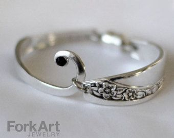 Items similar to Fork-tine bracelet with a black Swarovski crystal on Etsy