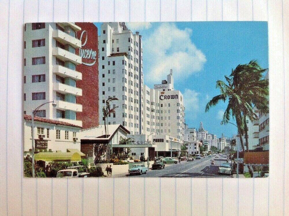 Postcard Miami Beach Florida Collins Ave Cars Hotels In 2021 Postcard Miami Beach Motel Miami Beach