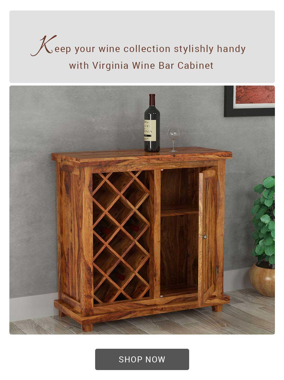 Virginia Handcrafted Rustic Solid Wood Wine Bar Cabinet In 2020