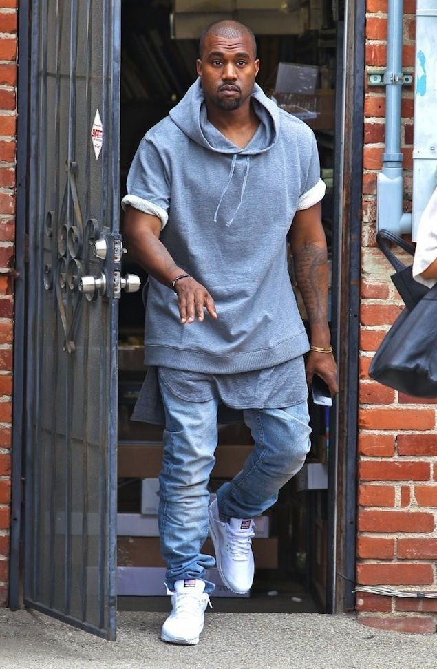 94a4b62eead Kanye West wearing APC Collab Sleeveless Hoodie, Fear of God LA Tank Top  and white Nike Air Max 90 Hyperfuse Sneakers | UpscaleHype
