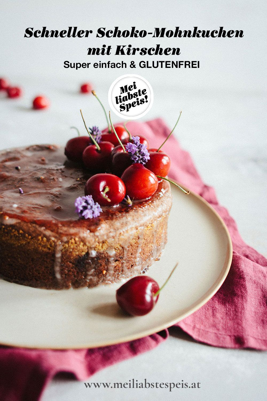 Saftiger Schoko Mohnkuchen Mit Frischen Kirschen Glutenfrei In 2020 Kuchen Mohnkuchen Lebensmittel Essen