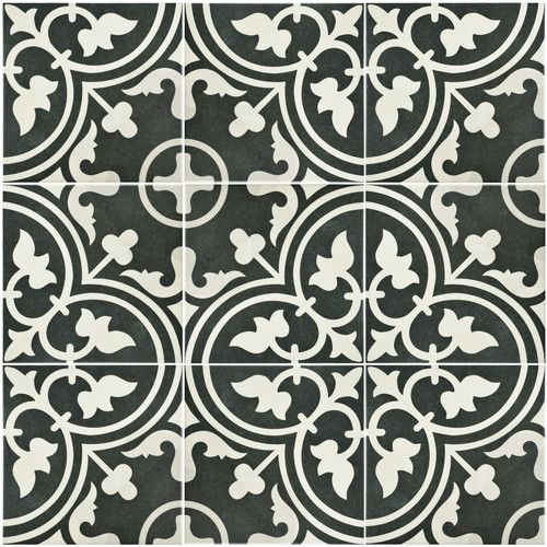 the somertile art black porcelain floor and wall tile features a gorgeous geometric pattern in a combination of warm black and white hues