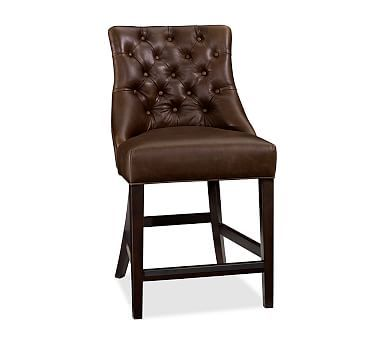 Stupendous Hayes Tufted Barstool Medium Leather Crackled Walnut Bar Machost Co Dining Chair Design Ideas Machostcouk