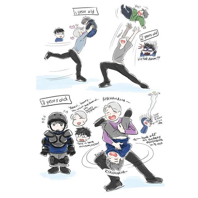 -Victor being a reckless father on ice with Yuuri losing a year of his live everytime Victor does something ridiculous