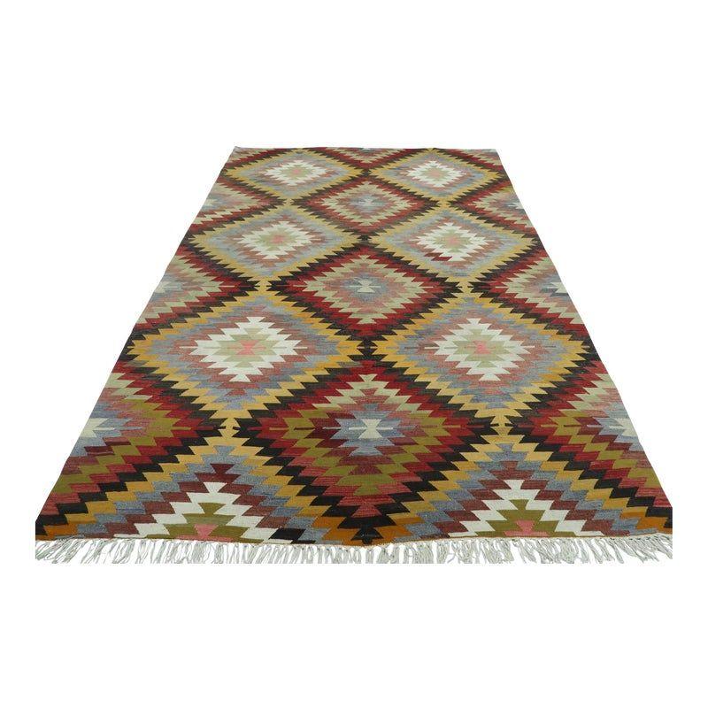 Turkish Antalya Wool Rug Kilim Rug-6'4'x9'8″