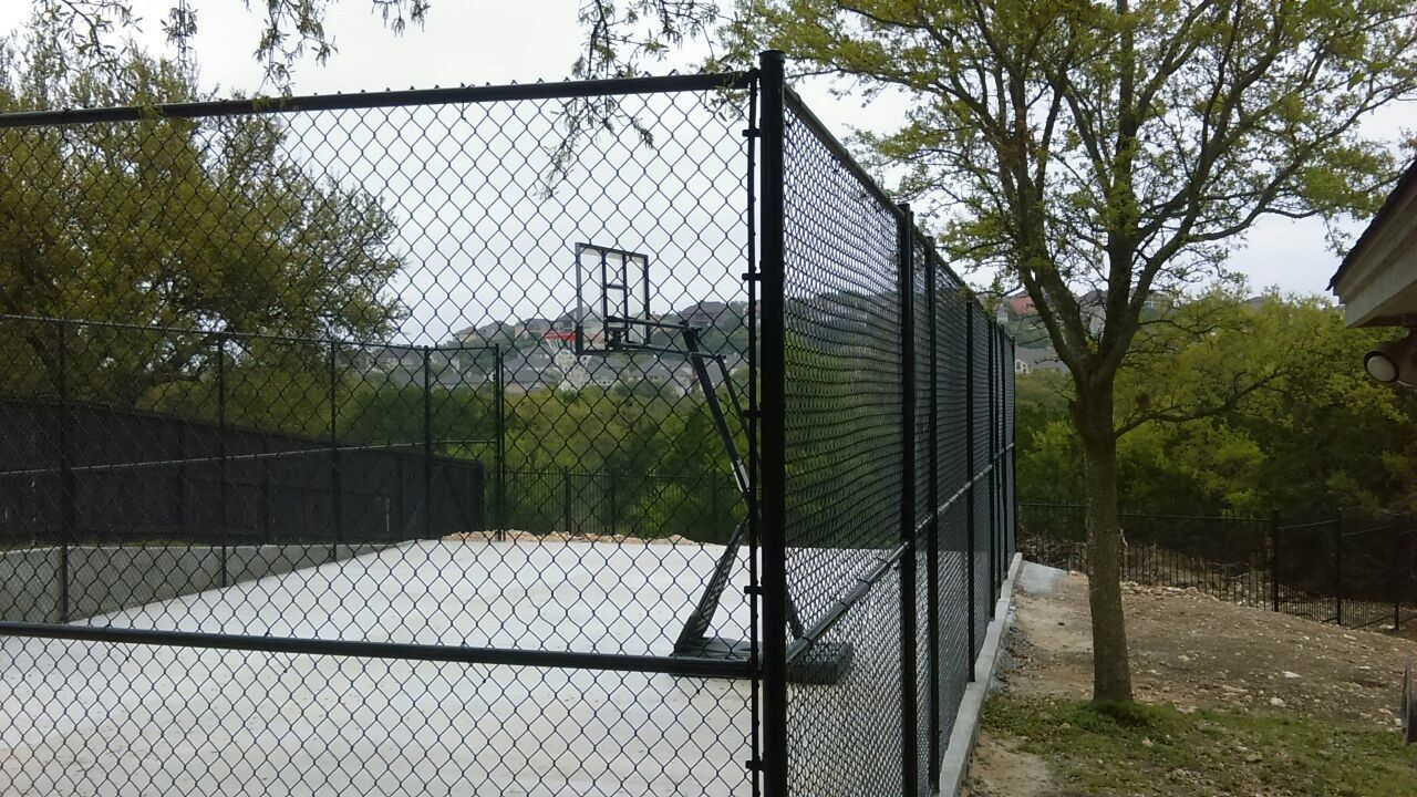 10 Tall Chain Link Black Vinyl Coated Basket Ball Court San Antonio Tx Residential Chain Link Fence Fence Chain Link