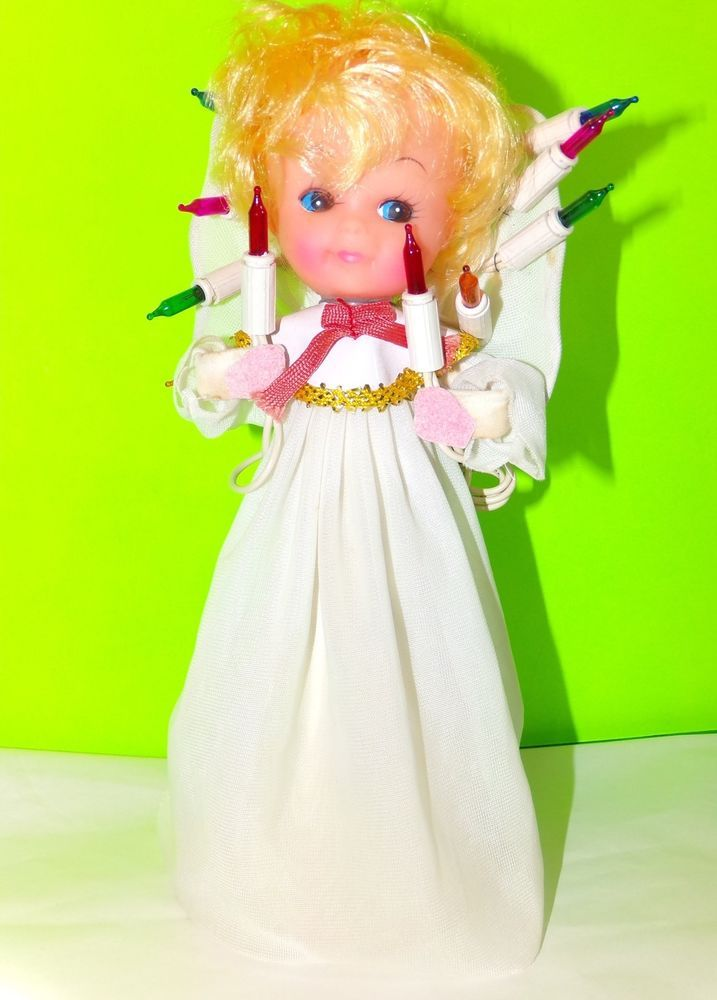 Vintage 60s Collectible Angel Christmas Tree Topper Twinkling